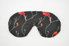 Red Blooms Black Sleeping Eye Mask