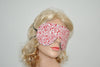 Red Floral Swirl White Sleeping Eye Mask