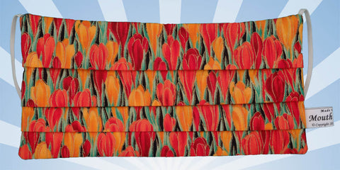 Red Orange Tulips Cotton Face Mask