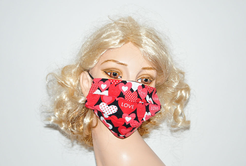 Red White Love Hearts Black Mask