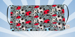 White Blue Red Soccer Balls Gray Mask