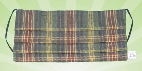 Tartan Stripes Green warm Face Mask