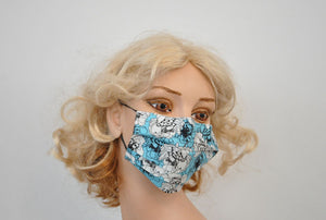White Blue Sketch Flowers Mask