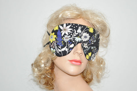 White Blue Yellow Flowers Black Sleeping Eye Mask