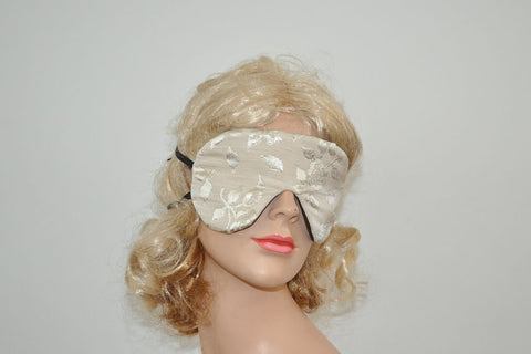 Beige Floral Roses Beige Sleeping Eye Mask