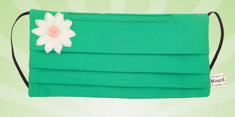 Plain Green White Flower Mask