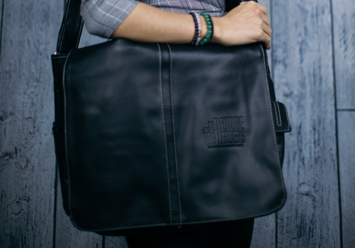 Messenger Bag - Black PU Leather, FTL Logo Debossed