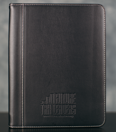 Zippered Padfolio - Black PU Leather, FTL Logo Debossed