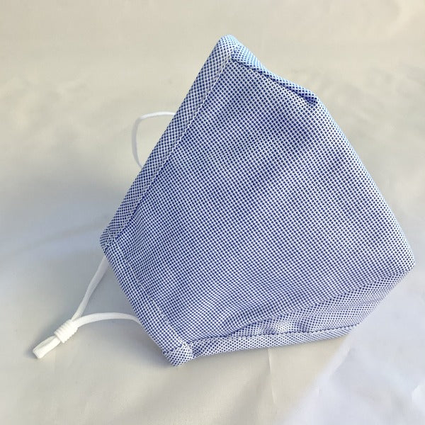 Adult Cotton Non-Medical Face Mask-Blue Crosshatch