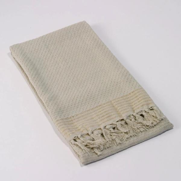 Gold Stripe Fringe Hand Towel