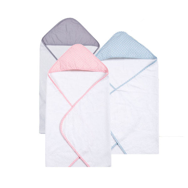 Polka Dot Cotton and Terry Cloth Hooded Towels