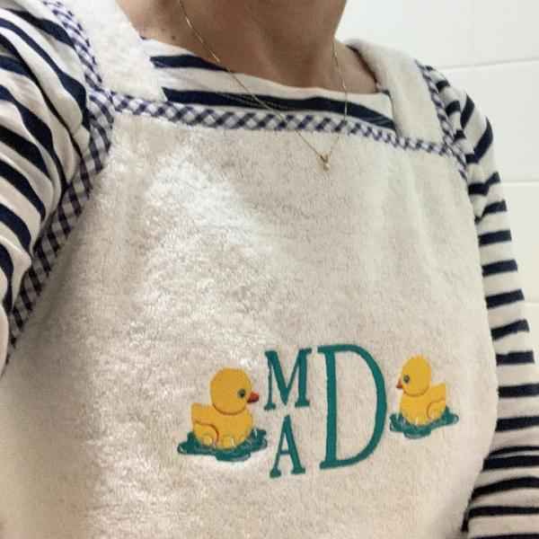 Cuddle Dry Apron-Navy Check by 3 Marthas