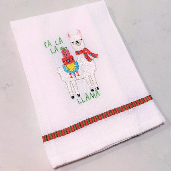 La La Llama White Dobby Trim Kitchen Towel