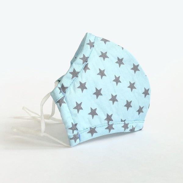 Kids Cotton Face Mask - Aqua with Grey Stars