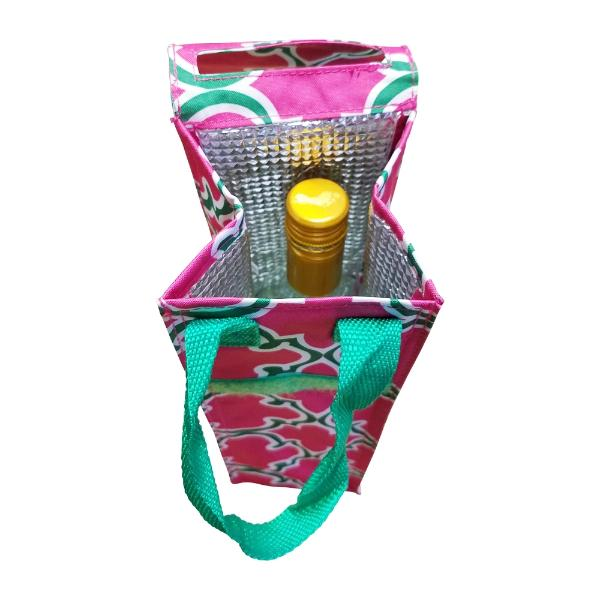 Insulated Wine Tote - Pink Quatrefoil