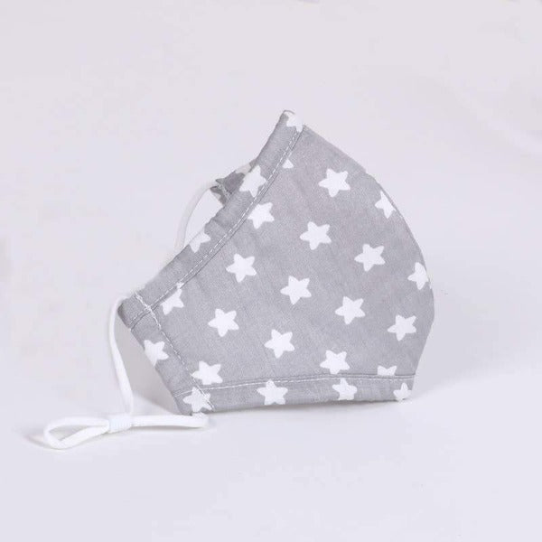 Kids Cotton Face Mask - Grey with White Stars