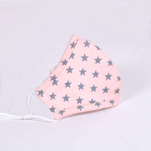 Kids Cotton Face Mask - Pink with Grey Stars