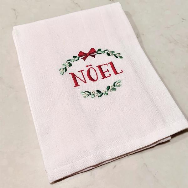 Noel Wreath White Cotton Kitchen Towel
