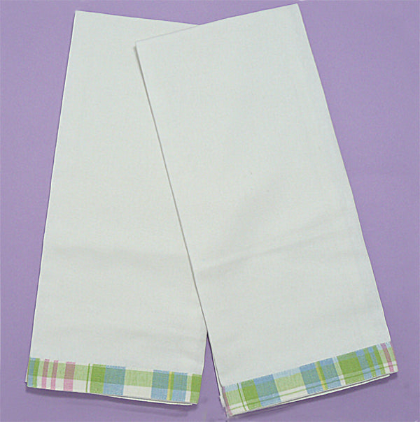 Pastel Plaid Trim Kitchen Towel