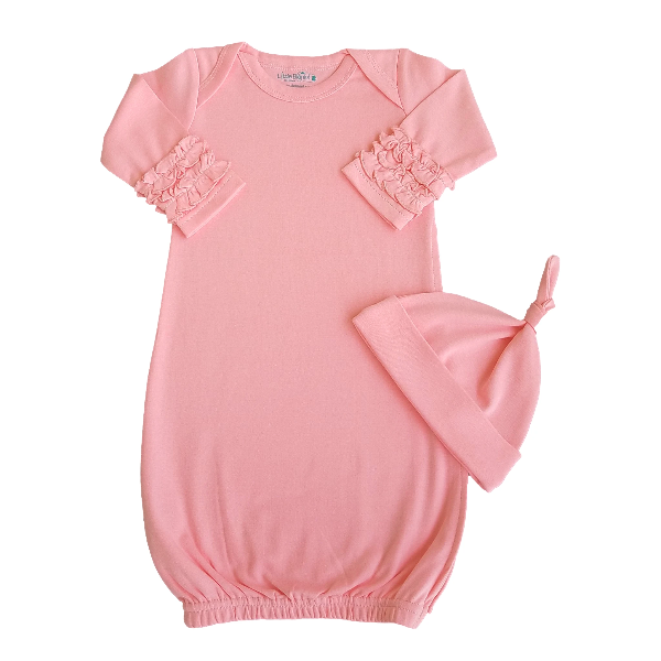 Baby Gown with Ruffle Sleeves & Matching Beanie - Flamingo Pink