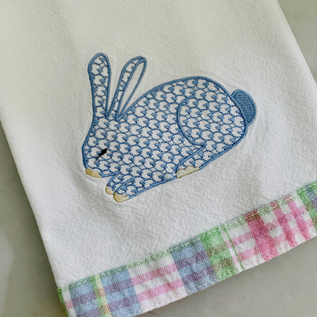 Pastel Plaid Trim Kitchen Towel with Bunny