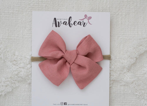 Pink Linen // large bow
