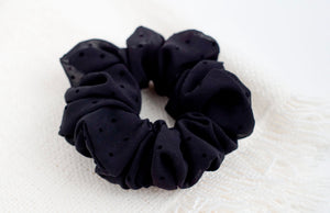 Black Swiss Polka // scrunchie
