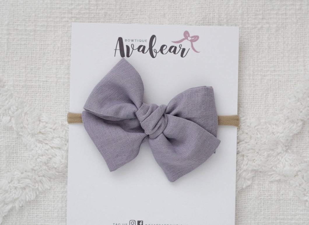 Dusty Purple Linen // large bow
