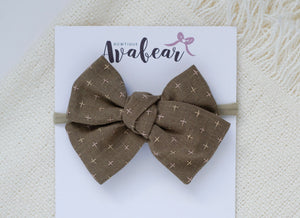Cappuccino // woven large bow