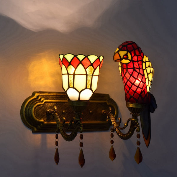 Stained glass wall light