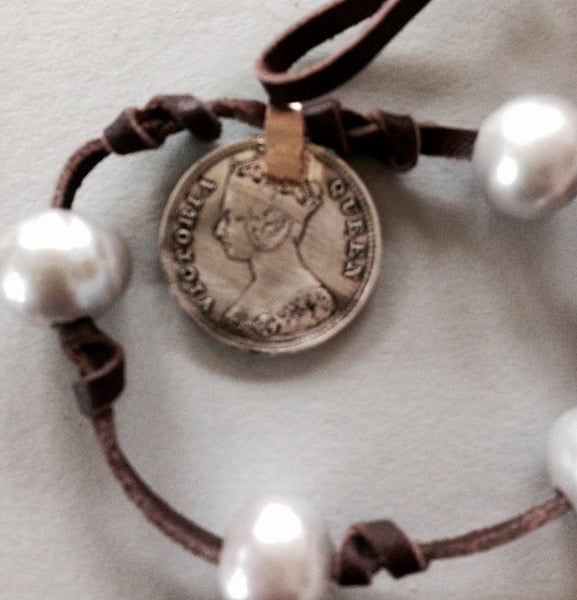 Silver Grey Pearl Necklace (or Bracelet) with 1895 Hong Kong Coin