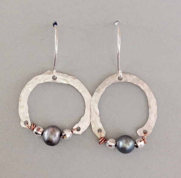 Silver Hoop Earring with Baby Silver Grey Pearl