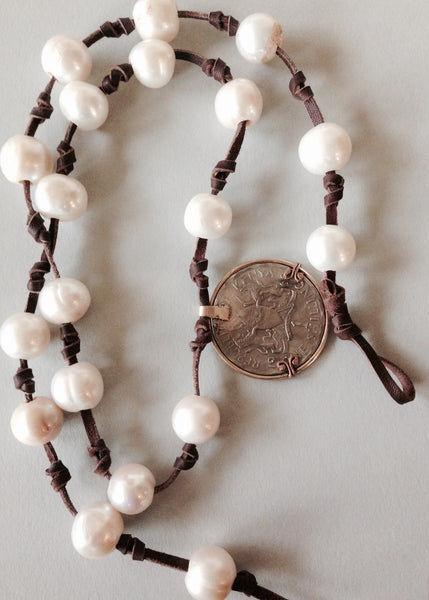 White Pearl Necklace (or Bracelet)  with 1968 Kenyan Coin