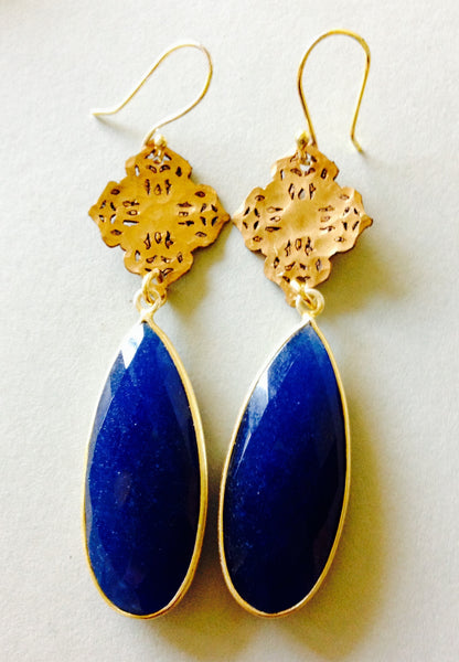 Thai and Blue Sapphire Drop Earrings