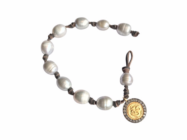 Grey Pearl Bracelet with Coin