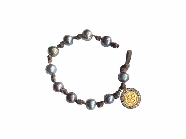 Peacock Pearl Bracelet with Coin