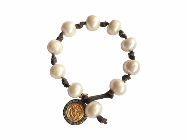 White Pearl and Coin Bracelet