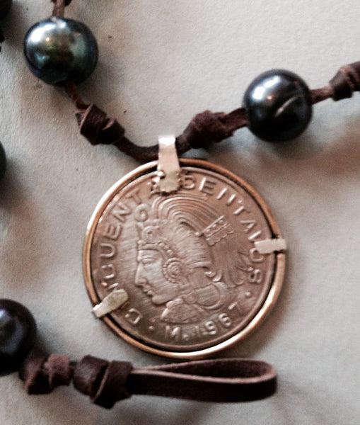 Purple Peacock Pearl Necklace (or Bracelet) with 1967 Mexican Coin