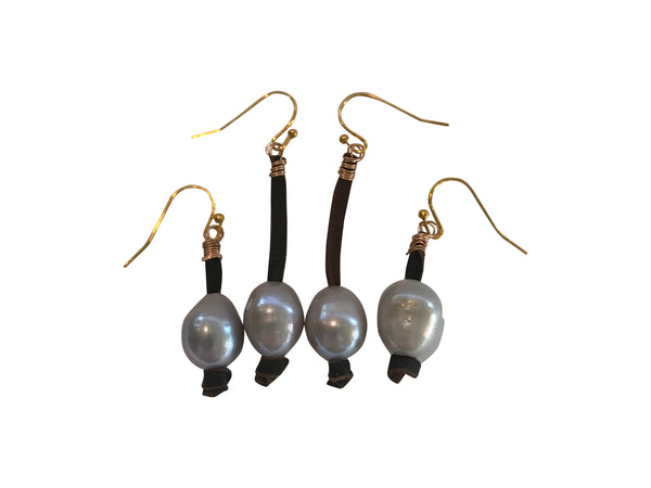 Short Grey Pearl Earring