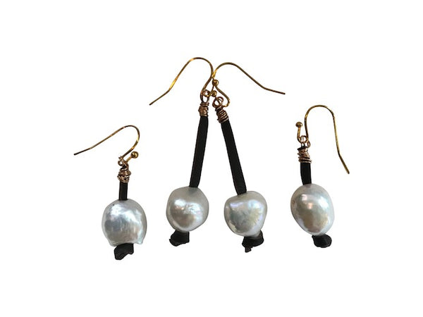 Long White Pearl Earring