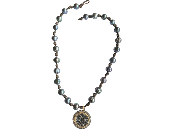 Peacock Pearl Necklace with Coin