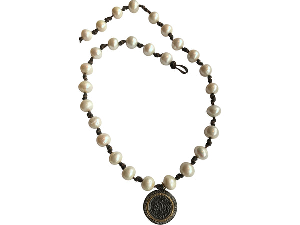 White Pearl Necklace with Coin