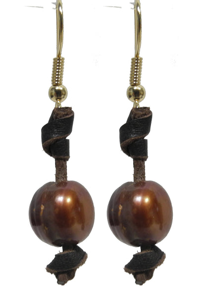 Golden Brown Pearl Earring with Leather