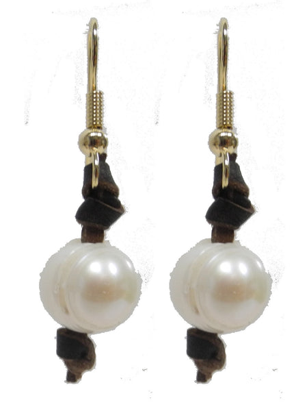 White Pearl Earrings with Leather