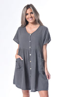 Crinkle Cotton Two Pocket Dress