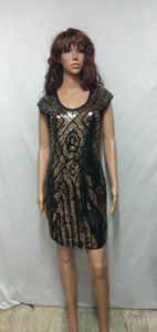 Gatsby 1920s Costume, Black with Gold Sequins