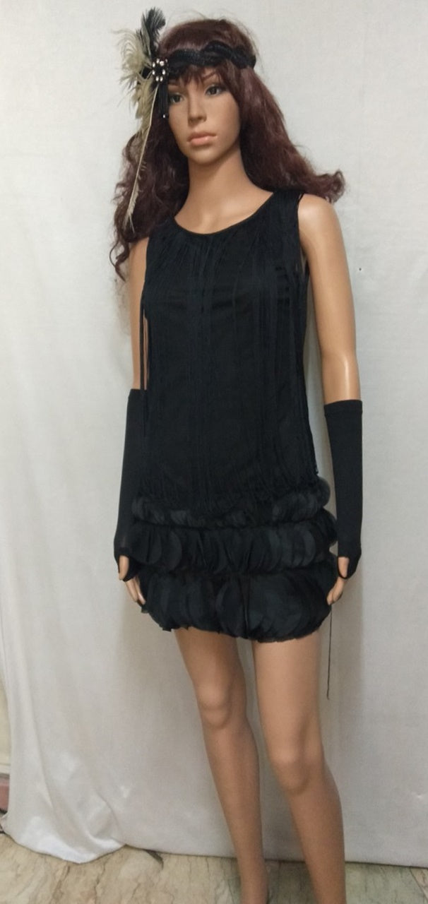 Gatsby 1920s Costume, Black with Corded Fringe