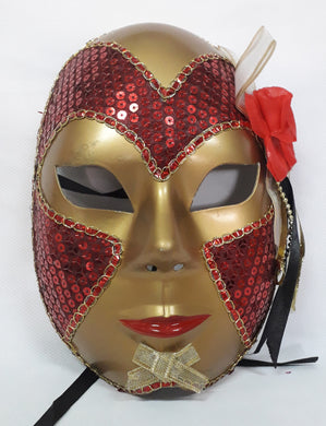 Gold Mask with Beads and Flower Design