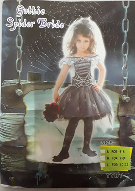 Gothic Spider Bride Costume for Kids 7-8y