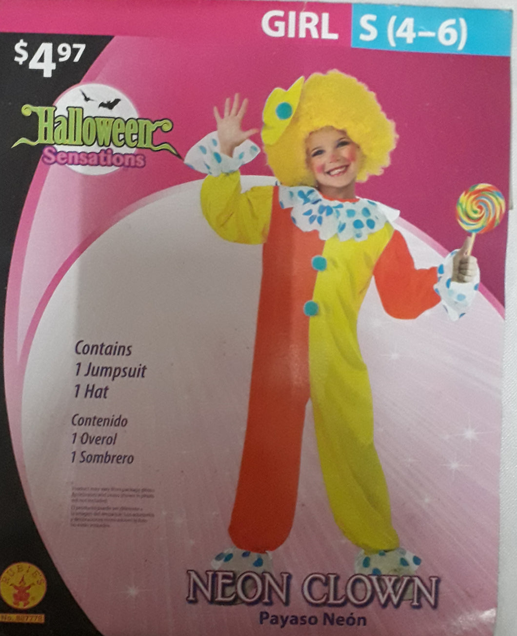 Clown Costume for Kids 4-6y